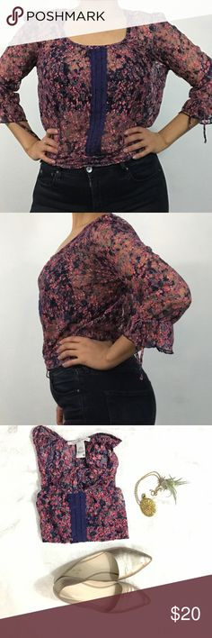 Floral Sheer Top Lace material with floral print. Cinches at the waist and has draw strings on the sleeves. Perfect for summer! I would pair it with dark jeans like in my picture or shorts! 😍 versatile piece that could fit anyone's style. American Rag Tops