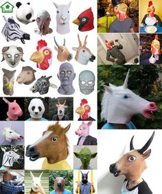 [Visit to Buy] Natural Latex Animal Alpaca Buffalo Zodiac Cock Sika Deer Panda Octopus Owl Scary Mask Cosplay Halloween Party Masquerade Mask #Advertisement