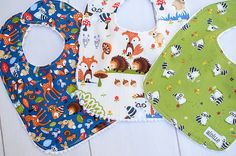 Baby Boy Bib Set Woodland Animals Set of 3 Shower Gift Raccoons Mouse Hedgehog Fox Feeding Larger Sized Gender Neutral Ready to Ship on Etsy, $30.00