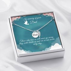 This necklace is a heartfelt gift to show your support for someone that has recently lost their father. The necklace is available is silver and gold with prices starting at $39.95. The message card says: those who love us will never go away, they walk beside us and are in our hearts every day.#fathermemorialnecklace #dadmemorialgift #rememberdadgift Special Gifts For Mom, Gifts For Dad, Gifts For Friends, Memorial Messages, Memorial Gifts, Sister Gifts, Mother Gifts, Grieving Friend, Loss Of Mother