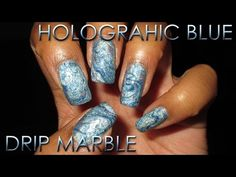 Holographic Blue Drip Marble | DIY Nail Art Tutorial - YouTube