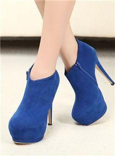 Zapatos De Tacon De Moda Azules Plataforma