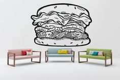 Removable Wall Decor Vinyl Sticker Mural Decal Showcase Logo Hamburger Cafe Restaurant Beef Vegetables Fast Food Burgers Window Meat F1679