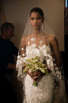spring 2013 wedding dress oscar de la renta bridal gowns romantic 1 - love the veil dress combo Wedding Veils, Best Wedding Dresses, Wedding Attire, Wedding Styles, Lace Wedding, Wedding Bride, Wedding Hair, Rustic Wedding, Wedding Scene