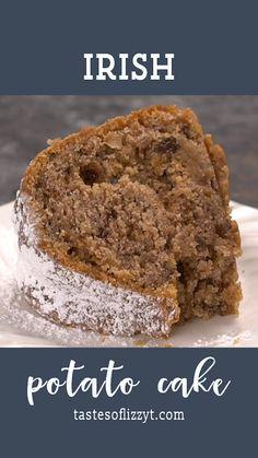Irish Potato Cake Recipe {Easy Raisin Nut Bundt Cake with Potatoes} Delicious Cake Recipes, Best Dessert Recipes, Yummy Cakes, Irish Potatoes, Leftover Potatoes, Irish Cake, Raisin Cake, Raisin Recipes, Irish Recipes