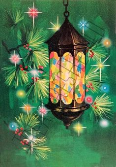Retro Stained Glass Lantern Christmas Card 127 by TreasuresResold Retro Christmas Decorations, Christmas Lanterns, Old Fashioned Christmas, Christmas Scenes, Christmas Past, Country Christmas, Christmas Colors, Xmas, Holiday Images