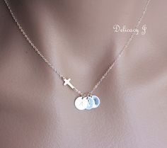 Personalized cross necklace with THREE initial discs by DelicacyJ, $41.00 Mothers Day gift for Grandma?