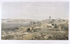'Sebastopol From the Rear of Fort Nicholas', by William Simpson, 1854 (lithograph). William Simpson (1823-99) was a Scottish painter who became noted for his depictions of the Crimean War (1853-6)