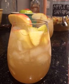 apple pie sangria -    2 bottles (standard size) white table wine 5 cups fresh apple cider 2 cup club soda 1 cup caramel vodka 4 honey crisp apples, chopped 3 pears, chopped 2 cinnamon sticks