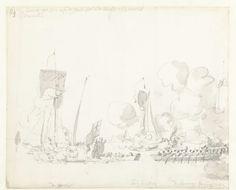 Willem van de Velde (I)   De tocht van de Engelse koning Karel II over de Thames naar Sheerness en Chatham op 27 Augustus 1681, Willem van de Velde (I), 1681   De tocht van de Engelse koning Karel II over de Thames naar Sheerness en Chatham op 27 augustus 1681. Het vertrek van de koning; de koning stapt van de Henrietta over op de 'baersje' (barge) tussen Woolwich en Blackwall. Aangegeven zijn de schepen Mary en het jacht van Lord Dunblane.