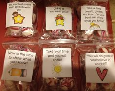 """Encouragemints"" Each bag of mints has a positive saying to help motivate each student."