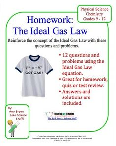 Gas Laws: Bundle of 9 Homework Worksheets | Homework, Charles law ...