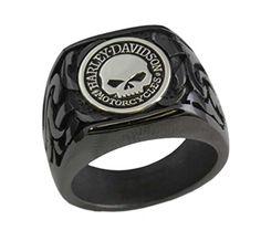 Harley-Davidson Stamper Men's Ring, Willie G Skull Black Titanium Ring TR008SB : Stamper Jewelry Closeout : Wisconsin Harley-Davidson
