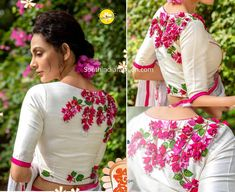 latest floral embroidered blouse designs 2019 Embroidered Blouse Collection, Festival Collection, Embroidery blouses, Durga Puja Festive Blouses from Sayanti Ghosh Collection Kalamkari Blouse Designs, Fancy Blouse Designs, Bridal Blouse Designs, Blouse Neck Designs, Blouse Patterns, Sleeves Designs For Dresses, Sleeve Designs, Stylish Blouse Design, Embroidered Blouse
