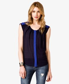 Forever 21- Pleated Colorblocked Top