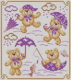 Singing in the rain Bears Cross Stitch For Kids, Cross Stitch Boards, Cross Stitch Needles, Cross Stitch Pillow, Cross Stitch Baby, Cross Stitch Animals, Diy Embroidery, Cross Stitch Embroidery, Embroidery Patterns