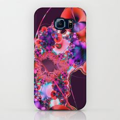 Hibiscus in Red Samsung Galaxy Phone Case by Terrella.  A bright and colorful fractal image that looks like Hibiscus flowers with decorative sprays, flourishes and curved lines.  You may see something else.  This is the red version with a purple background.