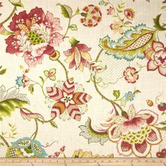 P Kaufmann Ophelia Blossom from @fabricdotcom  Screen-printed on a linen/rayon blend fabric, this versatile heavyweight fabric is perfect for window treatments (draperies, valances, curtains and swags), toss pillows, duvet covers, pillow shams, slipcovers and upholstery. Colors include warm berry red, brown, lime, hunter, aqua, teal and gold on a cream background.