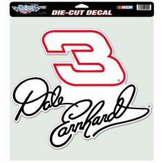 NASCAR  Dale Earnhardt 12-by-12 Die Cut Decal by WinCraft. $12.85. Licensed Die Cut decals are made of outdoor vinyl, permanent adhesive, image cut to the outside dimension of logo, full color detail is printed with a 3 year outdoor rating. Supplied with a clear liner, clear transfer tape, and application instructions. Made in USA.