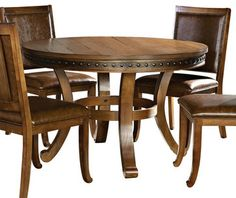 """Round Dining Tables on Houzz-48"""" veneer over hardwoods..Only 500--must be crap"""