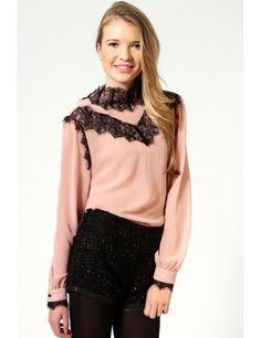 Zega Store - Camasa Lace Front Chiffon - Femei, Camasi Simple Shirts, Women's Shirts, Chiffon, Feminine, Stylish, Store, Lace, T Shirt, Fashion Trends
