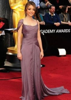 A-line Straps Court Train in Satin 84th Oscar Dress 2012