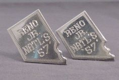 Vintage Sterling Silver Cufflinks; Reno Jr Rodeo Nationals; 1957; Nevada Shaped! #Unbranded