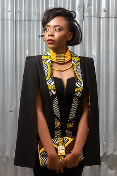 Outstanding Cape Blazer by Nana Wax Are you looking for African inspired Fashion? You should check out the beautiful and outstanding Cape Blazer by Nana Wax. African Dresses For Women, African Print Dresses, African Fashion Dresses, African Attire, African Wear, African Women, African Prints, African Style, African Dress Patterns