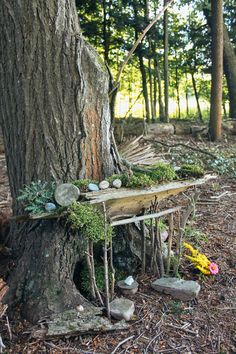 Enjoy the magic of the Wellnesste Lodge Fairy Trail during your cabin rental vacation getaway. Build your own natural fairy house in the woods! Fairy Tree Houses, Fairy Village, Fairy Garden Houses, Fairy Garden Doors, Garden Angels, Fairy Doors, Forest House, Forest Fairy, Miniature Houses