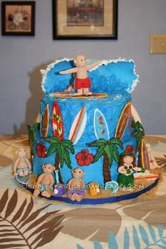 Baby Welcoming Surfing Cake... This website is the Pinterest of birthday cake ideas