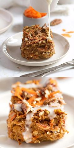 This HEALTHY Carrot Cake Baked Oatmeal is gluten-free, vegan and packed with flavor! It's like you're having a slice of carrot cake for breakfast! Easy, homemade, from-scratch recipe made with flax eggs. Easy Cake Recipes, Healthy Dessert Recipes, Vegan Desserts, Baking Recipes, Baking Desserts, Cake Baking, Easy Desserts, Baking Soda, Oatmeal Dessert