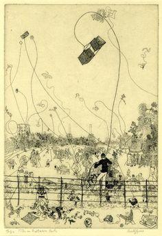 Kites in Battersea Park. Anthony Gross, 1934 (via British Museum)
