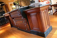 Antique printer's bench converted to kitchen island ModVic - The Modern Victorian Steampunk Home Steampunk Kitchen, Steampunk Desk, Steampunk House, Victorian Steampunk, Steampunk Furniture, Steampunk Interior, Steampunk Wedding, Antique Furniture, Gothic