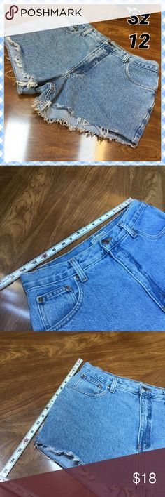 High Rise Jean Shorts Frayed edge, high rise.  Tag is marked Petite from prior life as Capri Jeans.  See measurement pics for sizing specifics. Shorts Jean Shorts