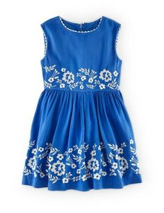 toddler to girls size blue embroidered dress