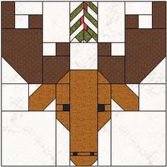 Sew Fresh Quilts: Moostle Toe - this moose block is a cutie! Complete instructions at the link. Barn Quilt Designs, Barn Quilt Patterns, Quilting Designs, Paper Piecing, Christmas Quilt Patterns, Christmas Quilting, Christmas Blocks, Christmas Tables, Christmas Patchwork