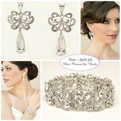 Delicate Rhinestone Drop Bridal Earrings ~ Serafina  and Classic Rhinestone Stretch Bridal Bracelet - Savannah