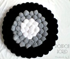 Pom pom rug, Fluffy carpet, White Grey Black, Pompoms, Home decor, Black, Gray, Grey, White, Unique room decor, Round rug, Round carpet