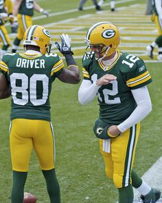 Aaron Rodgers and Donald Driver during pre-game warm-ups.  Tampa Bay Buccaneers vs. Green Bay Packers at Lambeau Field in Green Bay, Wisconsin on November 20, 2011.  The Packers won 35-26.