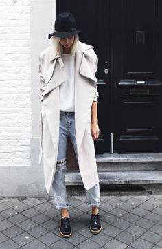 .chalk colored wool trench, light soled shoes