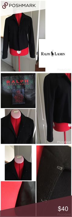 Ralph Lauren blk hook and eye jacket Well loved, great life left! Slight pilling in spots, otherwise no flaws.                                    PLEASE, REASONABLE OFFERS ONLY!  -Smoke and pet free - If its $10 or under, I WILL NOT accept offers. -I do not model anything; everything looks different on everyone and I don't wasn't too Jade that. I will put the item on a dress form or find factory pics and provide measurements. -NO HOLDS, NO TRADES, POSH RULES ONLY! Ralph Lauren Jackets…