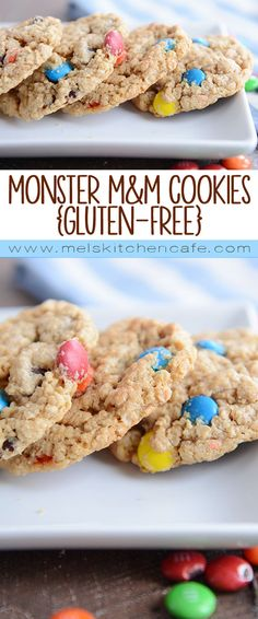 Monster M&M cookies! Soft, chewy, and loaded with oatmeal, peanut butter, M&M's and chocolate chips. These gluten-free cookies are a dream!