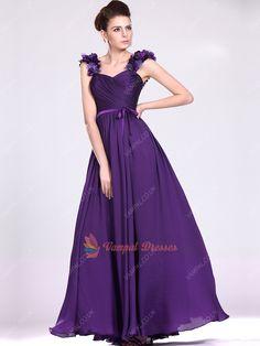 125.00$  Buy now - http://vitsk.justgood.pw/vig/item.php?t=tho1huu56932 - Romantic Purple Pleated Chiffon Long Bridesmaid Dresses With Flowers 125.00$