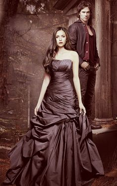 Nina Dobrev in rouched pewter gown. Like I say, I don't watch that show, but these promo shots are lovely fashion-wise.