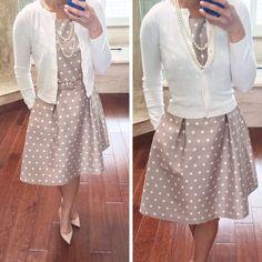 Neutral feminine work outfit:  polka dot dress - cardigan sweater - pearls - pumps  // StylishPetite.com