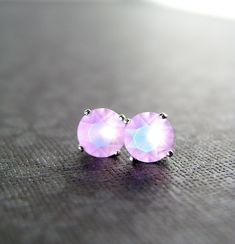 small studs Pink Frosted Earrings .. tiny earrings pink studs soft pink glass sterling silver