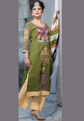 Add a festive flavor with this semi-stitched, cotton kameez in Olive Green. Portrayed with Resham, Applique, Abstract Print and Patch Border Work. Teamed with Cotton straight pant in Beige and Faux Chiffon dupatta in Off White and Olive Green. Also accompanied by Cotton sleeve. Do Note: (Slight variation in actual color vs. image as well as print design, applique and patch border work is possible).