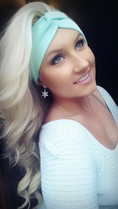 Mint twist headband with black lace accent in back on etsy.com/shop/thewoodenanlter. Blonde hair perfect curls makeup eyeshadow eyelashes scarf scarves skin volume foundation
