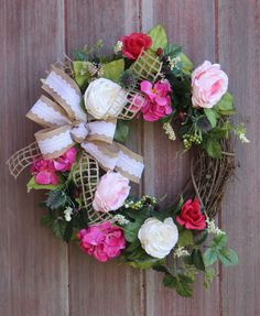 Spring Wreath, Grapevine Wreath, Feminine Wreath, Mothers Day Gift, Baby Girl Wreath, Rose Wreath, Welcome Wreath, Front Door Wreath, Gift by HilltopRustics on Etsy