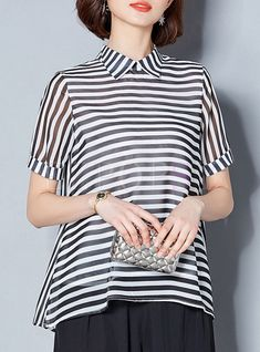 Black Casual Lapel Striped Plus Size Blouse   Ezpopsy.com